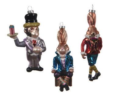 Vánoční ozdoba - Zvířátko v kostýmu 8 cm, Kaemingk