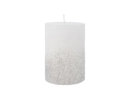 Svíčka se třpytkami, 7x10cm, zimní bílá, Kaemingk