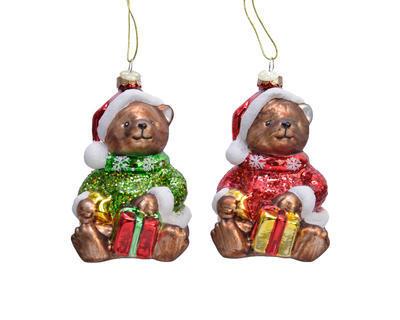 Vánoční ozdoba MEDVÍDEK s dárkem, 12cm, zelený/ červený, Kaemingk