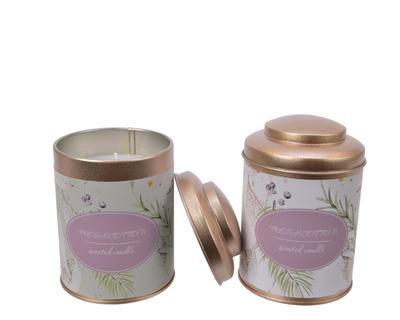Vonná svíčka v dóze, lila/ zelená, 8x11cm, Kaemingk