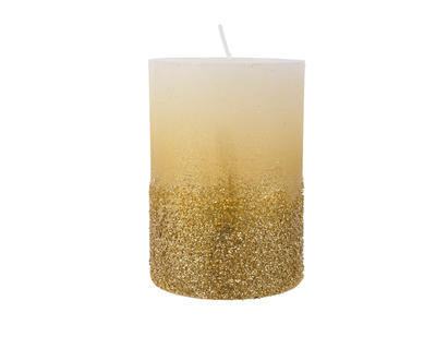 Svíčka se třpytkami, 7x10cm, zlatá, Kaemingk