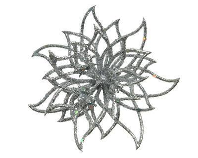 Květina na klipu, cca 14x5cm, stříbrná, Kaemingk