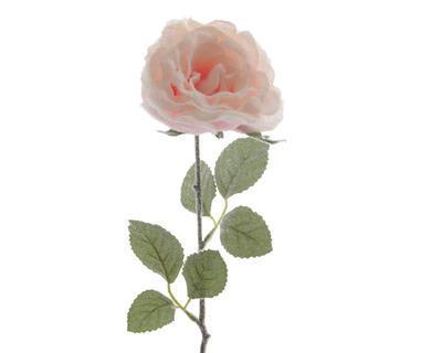 Květina RŮŽE, zasněžená, 45cm, světle růžová, Kaemingk