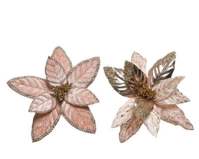Vánoční hvězda na klipu, 29cm, 2 druhy, růžová, Kaemingk