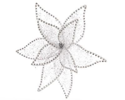 Květina na klipu se třpytkami, cca 20cm, stříbrná, Kaemingk