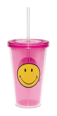 Sklenice s víkem ICE SMILEY 490 ml - berry, Zak!