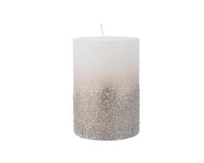 Svíčka s glittery, 10cm, stříbrná, Kaemingk