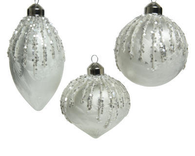 Vánoční ozdoba, 8cm, oliva/ cibule/ baňka, Kaemingk