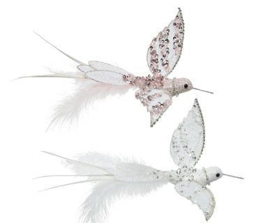 Kolibřík na klipu, 18x22x5cm, růžový/ bílý, Kaemingk