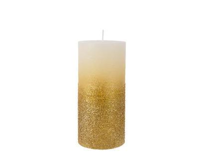 Svíčka se třpytkami, 7x15cm, zlatá,  Kaemingk
