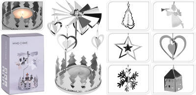 Vánoční svícen- zvonkohra, stříbrný