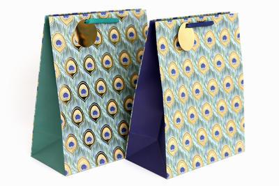 Dárková taška PAVÍ PEŘÍ, 33x26,7cm, 2 druhy, tyrkysová / modrá, Sifcon