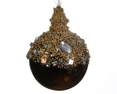 Vánoční ozdoby - koule hnědá s diamanty 3 ks, Kaemingk