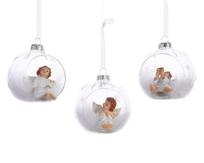 Vánoční ozdoba - koule s andělíčkem, Kaemingk