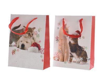 Vánoční taška dárková - Pes/kočka - 10x26x32 cm, Kaemingk