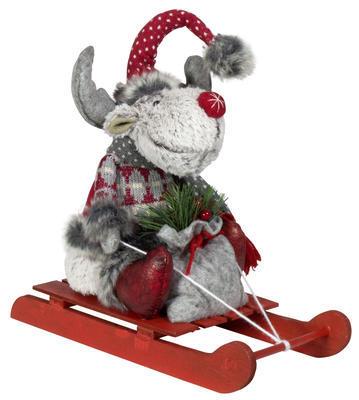 Vánoční postavička - sob na saních 27 cm, Euro-Trading