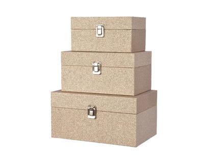 Vánoční krabice dárkové - LTHR GLITTER - Set 3ks, Kaemingk
