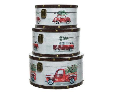 Vánoční krabice dárkové - XMAS CAR - Set 3ks, Kaemingk
