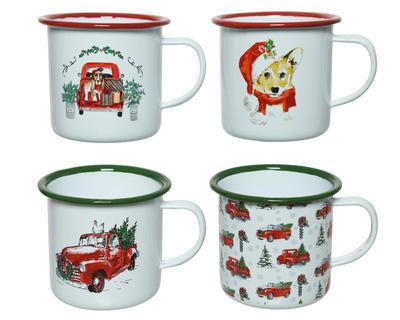 Vánoční hrnek - XMAS PRINT 9x8 cm - bílá/červená, Kaemingk