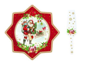Vánoční set 2ks - Podnos na koláč a lopatka VINTAGE XMAS 32 cm, Easy Life