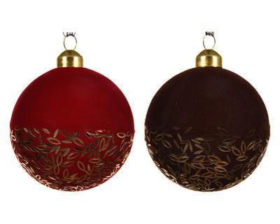 Vánoční ozdoba - Koule FLOCK SPANGLE 8 cm - červená, Kaemingk