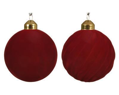 Vánoční ozdoba - Koule FLOCK 8 cm - červená, Kaemingk