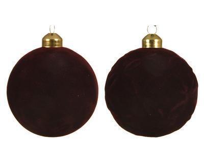 Vánoční ozdoba - Koule FLOCK 8 cm - vínová, Kaemingk