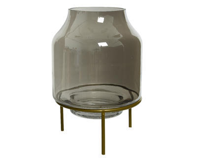 Svícen na stojanu HURRICANE METAL STAND 19,5x23 cm - šedá, Kaemingk