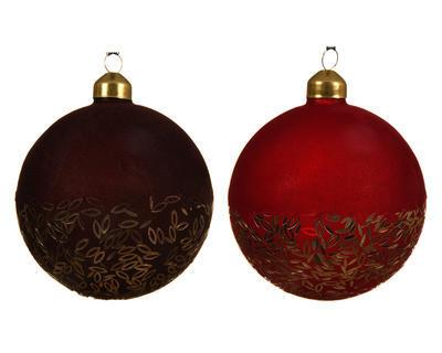 Vánoční ozdoba - Koule FLOCK SPANGLE 10 cm - červená, Kaemingk