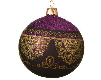 Vánoční ozdoba - Koule GOLD LACE 8 cm - fialová, Kaemingk