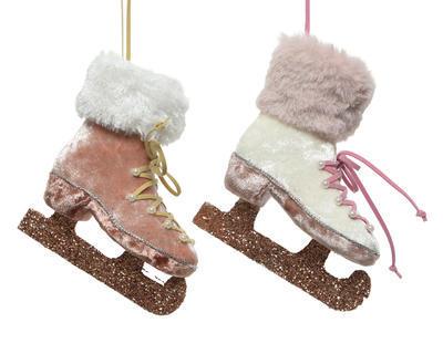 Vánoční ozdoba - Brusle s kožešinkou 12 cm - pearl/růžová, Kaemingk