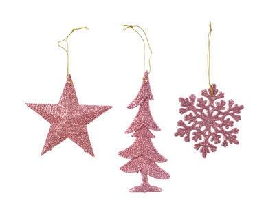 Vánoční ozdoba - Vločka/Hvězda/Strom - růžová, Kaemingk
