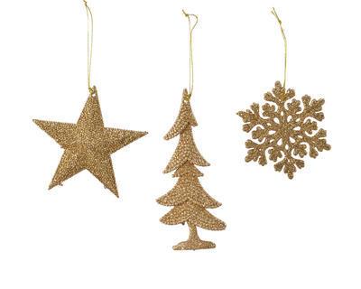 Vánoční ozdoba - Vločka/Hvězda/Strom - hořčicová, Kaemingk