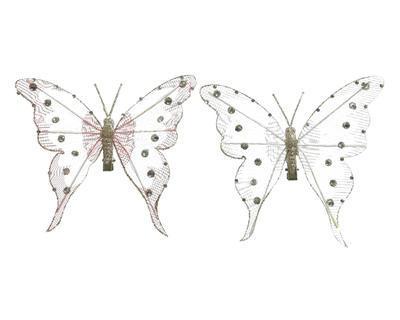 Vánoční ozdoba - Motýl s glitry na klipu 14x13 cm - bílá/růžová, Kaemingk