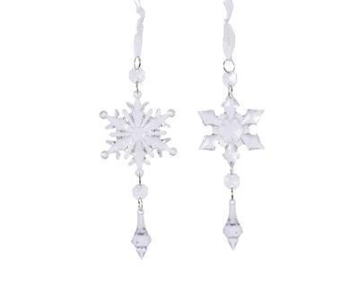 Vánoční ozdoba - Sněhová vločka 16 cm - transparentní, Kaemingk