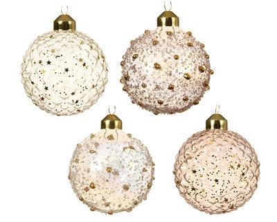 Vánoční ozdoba - Koule IRIS 8 cm - růžová/transp., Kaemingk