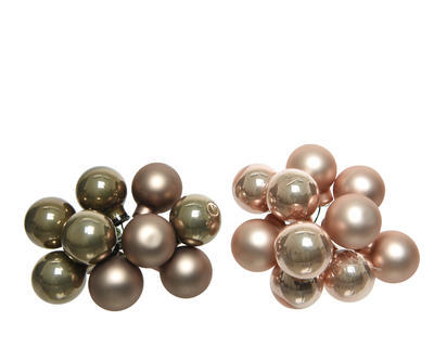 Vánoční ozdoba - Dekorační kuličky svazek 2 cm - béžová/hnědá, Kaemingk