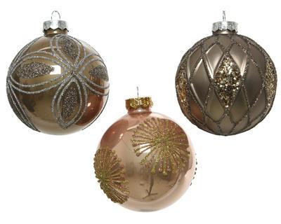 Vánoční ozdoba - Koule DEKOR MIX 8 cm - hnědá, Kaemingk