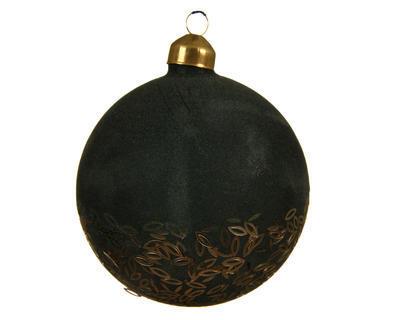 Vánoční ozdoba - Koule FLOCK SPANGLE 10 cm - zelená, Kaemingk