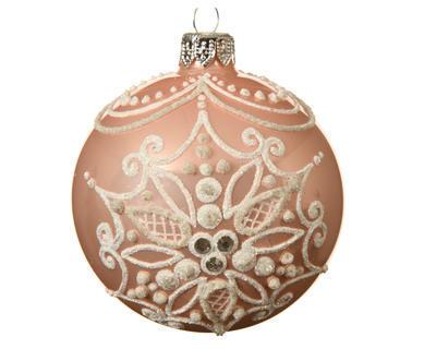 Vánoční ozdoba - Koule SNOWFLAKE 8 cm - růžová, Kaemingk
