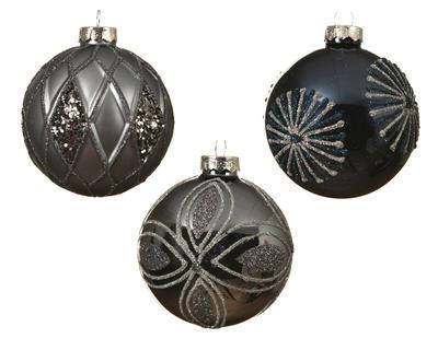 Vánoční ozdoba - Koule DEKOR MIX 8 cm - tm. modrá/stone, Kaemingk
