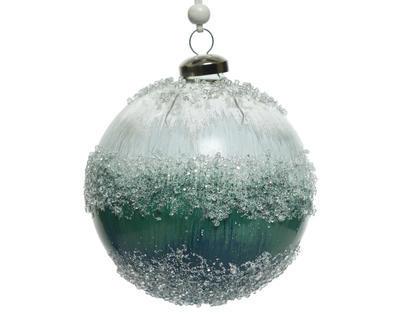 Vánoční ozdoby 2 ks - Koule FROSTY 10 cm - modrá, Kaemingk