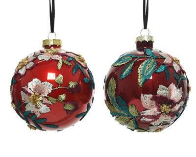 Vánoční ozdoba - Koule FABRIC FLOWER 10 cm - červená, Kaemingk