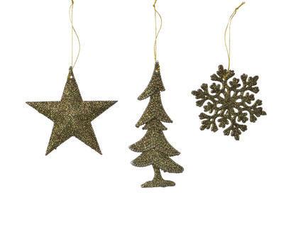 Vánoční ozdoba - Vločka/Hvězda/Strom - zelená, Kaemingk
