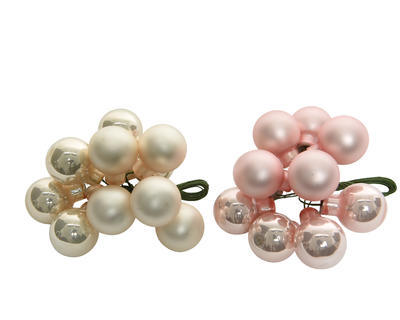 Vánoční ozdoba - Dekorační kuličky svazek 2 cm - pearl/růžová, Kaemingk