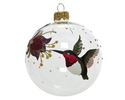 Vánoční ozdoba - Koule BIRD FLOWER 8 cm - transparentní, Kaemingk