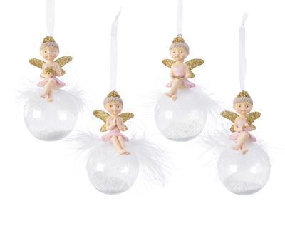 Vánoční ozdoba - Koule s andělíčkem 12 cm - sv. růžová, Kaemingk
