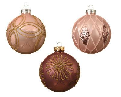 Vánoční ozdoba - Koule DEKOR MIX 8 cm - růžová, Kaemingk