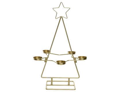 Vánoční svícen - Stromeček s hvězdou 31x50 cm - zlatá, Kaemingk