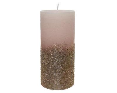 Vánoční svíčka - Válec s glitry 15 cm - růžová, Kaemingk